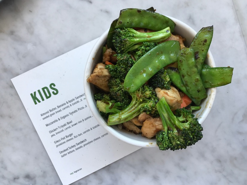 Healthy options on the kids menu at True Food Kitchen in Galleria-Uptown Houston