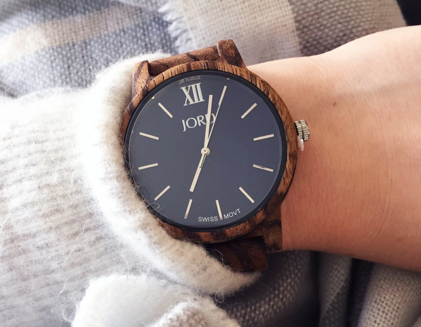 JORD wood watch Navy Zebra Wood