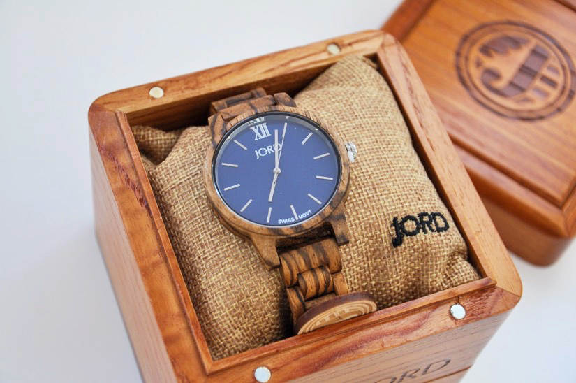 JORD wooden watch - navy zebra wood in a beautiful box