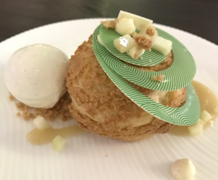 Apple vanilla choux for dessert at Yauatcha Houston