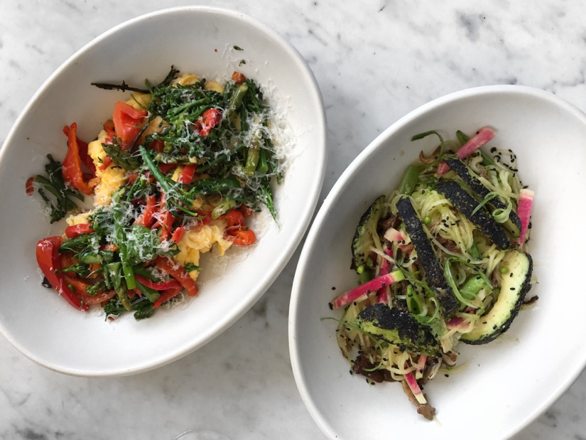Delicious vegetarian meals at True Food Kitchen: Torched Avocado and Garden Scramble