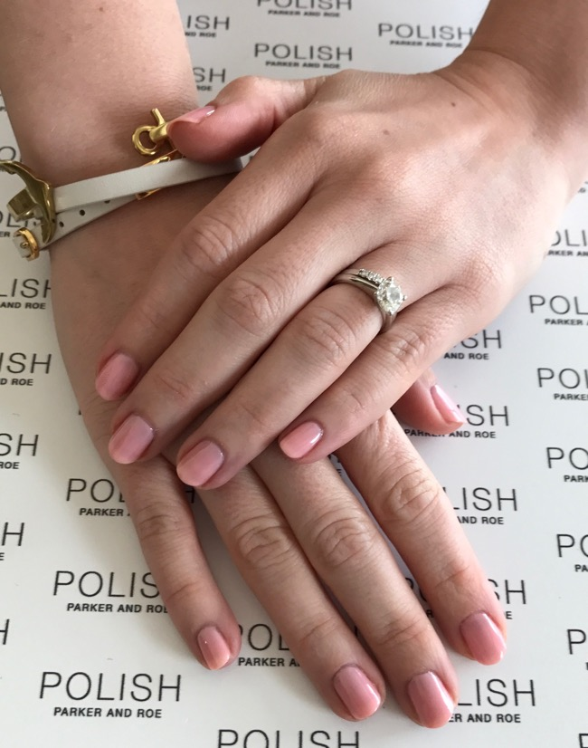 Pretty, soft-colored manicure at Polish Parker and Roe in Houston