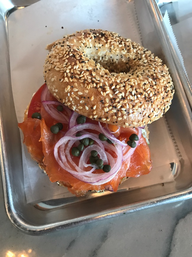 Salmon Bagel at Golden Bagels in the Houston Heights
